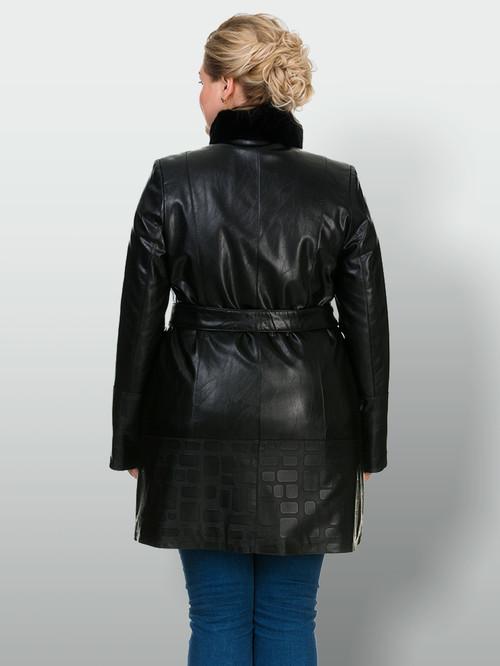 Кожаное пальто артикул 18902634/46 - фото 3