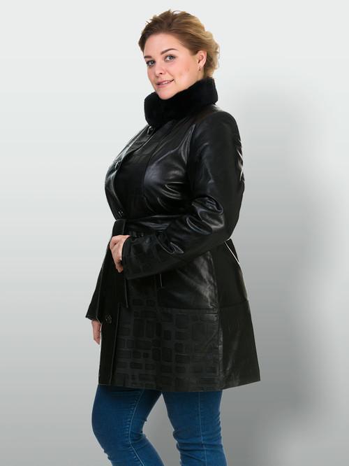 Кожаное пальто артикул 18902634/46 - фото 4