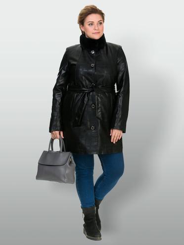 Кожаное пальто эко-кожа 100% П/А, цвет черный, арт. 18902634  - цена 3990 руб.  - магазин TOTOGROUP