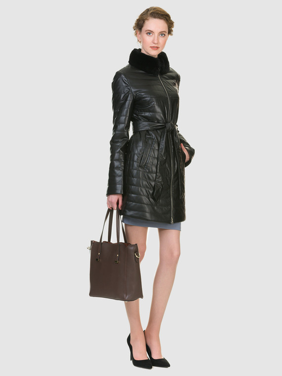 Кожаное пальто эко кожа 100% П/А, цвет черный, арт. 18902635  - цена 6990 руб.  - магазин TOTOGROUP