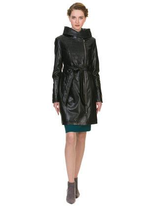 Кожаное пальто эко кожа 100% П/А, цвет черный, арт. 18902636  - цена 8990 руб.  - магазин TOTOGROUP