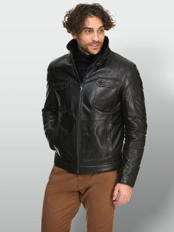 Кожаная куртка кожа овца, цвет черный, арт. 18902640  - цена 28490 руб.  - магазин TOTOGROUP