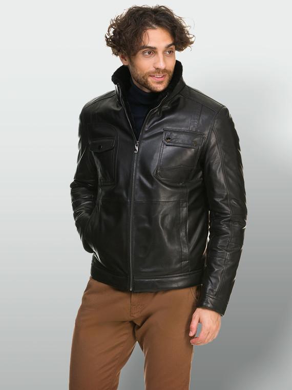 Кожаная куртка кожа , цвет черный, арт. 18902640  - цена 16990 руб.  - магазин TOTOGROUP
