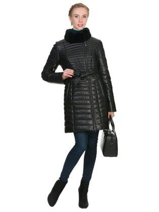 Кожаное пальто кожа овца, цвет черный, арт. 18902641  - цена 19990 руб.  - магазин TOTOGROUP