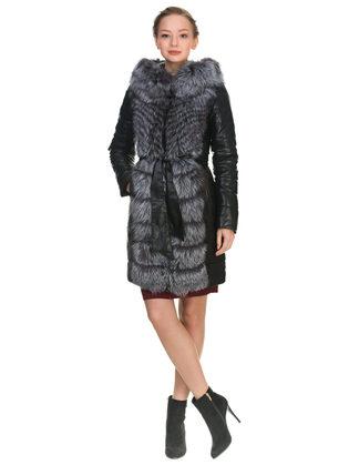 Кожаное пальто эко кожа 100% П/А, цвет черный, арт. 18902648  - цена 21290 руб.  - магазин TOTOGROUP