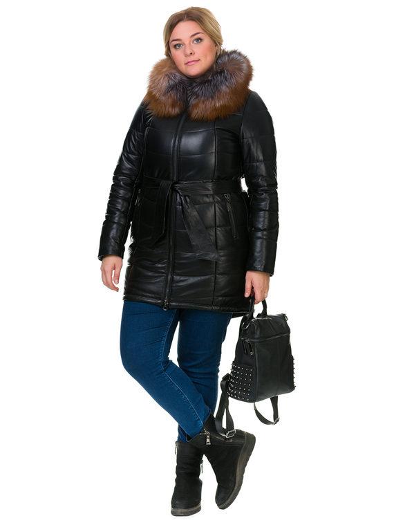 Кожаное пальто кожа , цвет черный, арт. 18902654  - цена 19990 руб.  - магазин TOTOGROUP