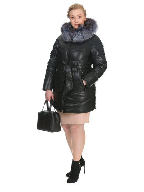 Кожаная куртка эко кожа 100% П/А, цвет черный, арт. 18902655  - цена 9990 руб.  - магазин TOTOGROUP