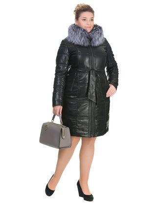 Кожаное пальто эко кожа 100% П/А, цвет черный, арт. 18902658  - цена 18990 руб.  - магазин TOTOGROUP
