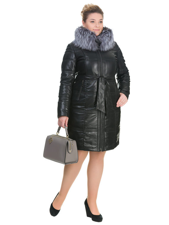 Кожаное пальто эко кожа 100% П/А, цвет черный, арт. 18902658  - цена 10590 руб.  - магазин TOTOGROUP