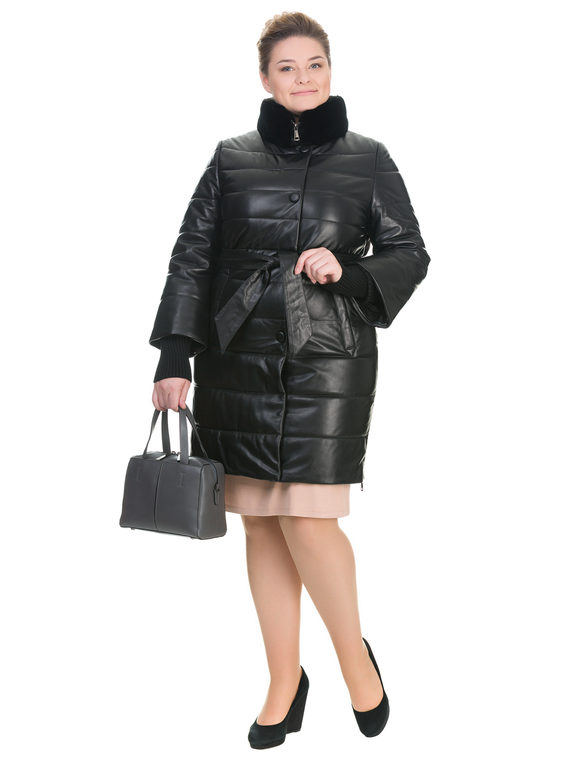 Кожаное пальто кожа , цвет черный, арт. 18902664  - цена 14990 руб.  - магазин TOTOGROUP
