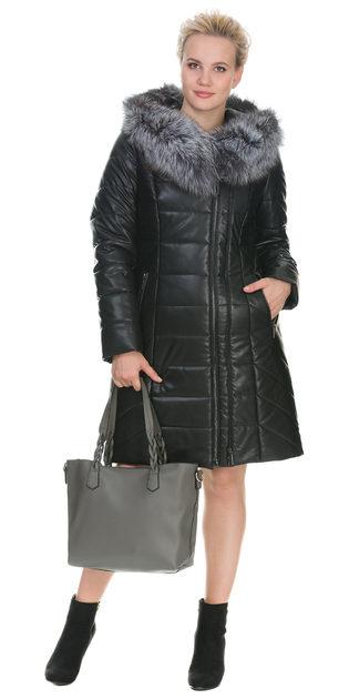 Кожаное пальто эко кожа 100% П/А, цвет черный, арт. 18902665  - цена 17990 руб.  - магазин TOTOGROUP