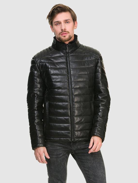Кожаная куртка кожа , цвет черный, арт. 18902669  - цена 12690 руб.  - магазин TOTOGROUP