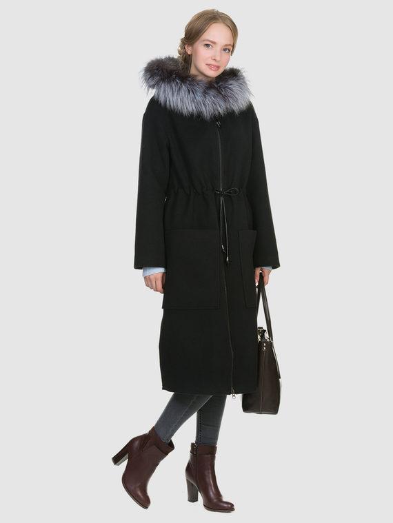 Текстильное пальто 50%шерсть, 50% п/а, цвет черный, арт. 18902693  - цена 6990 руб.  - магазин TOTOGROUP