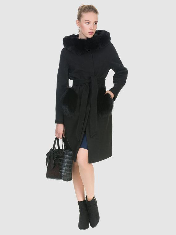 Текстильное пальто 50%шерсть, 50% п/а, цвет черный, арт. 18902694  - цена 8490 руб.  - магазин TOTOGROUP