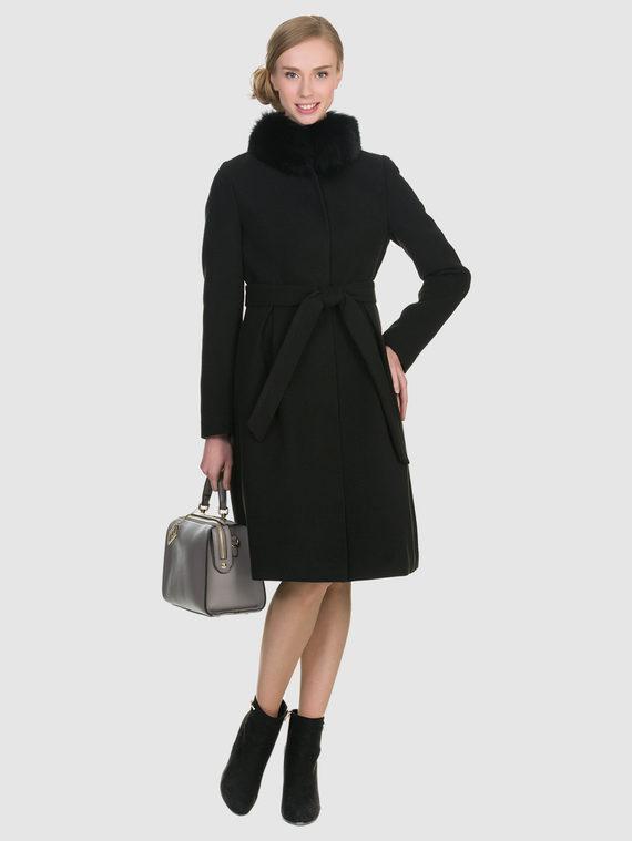 Текстильное пальто 50%шерсть, 50% п/а, цвет черный, арт. 18902696  - цена 6290 руб.  - магазин TOTOGROUP