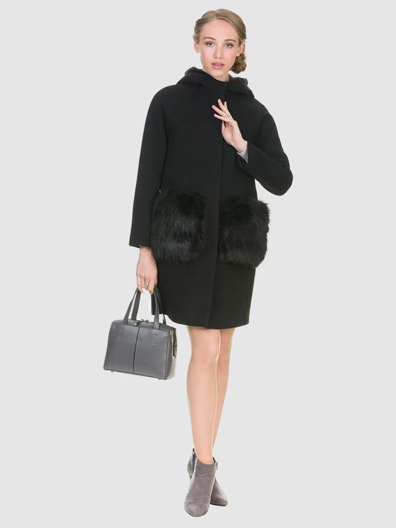 Текстильное пальто 50%шерсть, 50% п/а, цвет черный, арт. 18902697  - цена 4490 руб.  - магазин TOTOGROUP