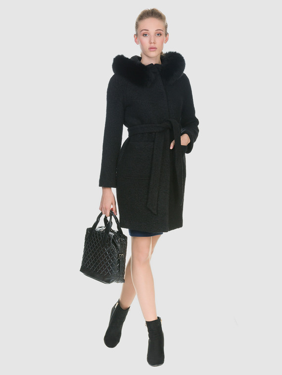 Текстильное пальто 70%шерсть,30%п,а, цвет черный, арт. 18902704  - цена 6990 руб.  - магазин TOTOGROUP