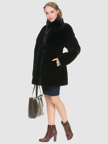 Шуба из мутона мех мутон, цвет черный, арт. 18902709  - цена 33990 руб.  - магазин TOTOGROUP
