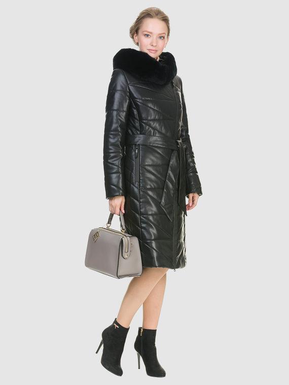 Кожаное пальто эко кожа 100% П/А, цвет черный, арт. 18902727  - цена 9490 руб.  - магазин TOTOGROUP