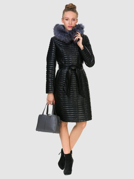Кожаное пальто эко кожа 100% П/А, цвет черный, арт. 18902728  - цена 11290 руб.  - магазин TOTOGROUP