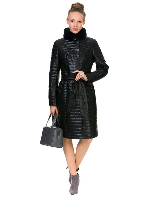 Кожаное пальто эко кожа 100% П/А, цвет черный, арт. 18902732  - цена 8490 руб.  - магазин TOTOGROUP