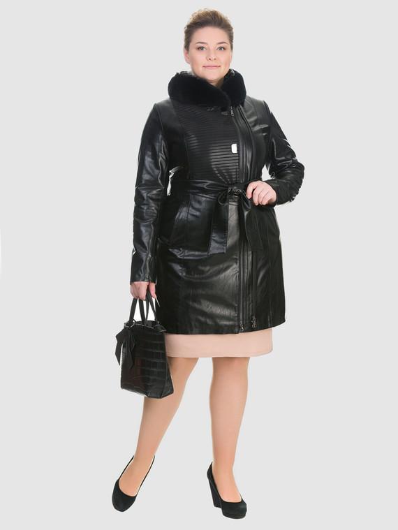 Кожаное пальто эко кожа 100% П/А, цвет черный, арт. 18902764  - цена 9490 руб.  - магазин TOTOGROUP