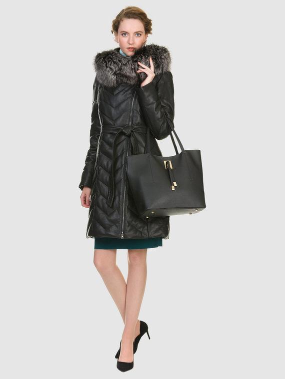 Кожаное пальто эко кожа 100% П/А, цвет черный, арт. 18902798  - цена 13390 руб.  - магазин TOTOGROUP