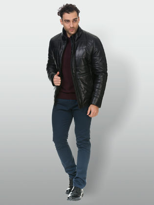 Кожаная куртка кожа овца, цвет черный, арт. 18902816  - цена 23990 руб.  - магазин TOTOGROUP