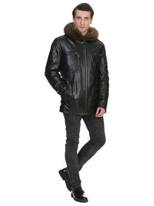 Кожаная куртка кожа коза, цвет черный, арт. 18902817  - цена 33990 руб.  - магазин TOTOGROUP