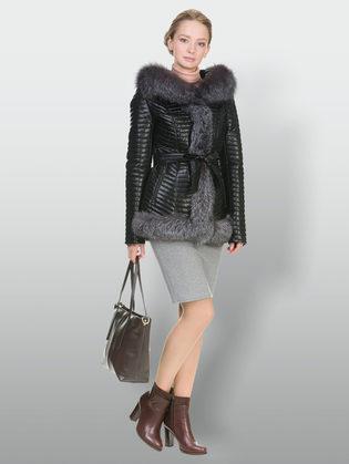 Кожаная куртка эко кожа 100% П/А, цвет черный, арт. 18902846  - цена 17990 руб.  - магазин TOTOGROUP