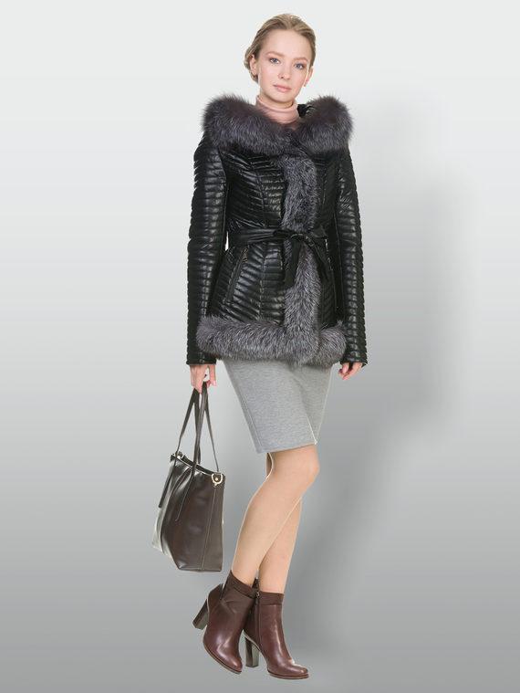 Кожаная куртка эко кожа 100% П/А, цвет черный, арт. 18902846  - цена 11290 руб.  - магазин TOTOGROUP