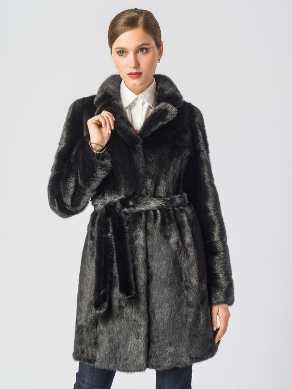 Шуба из норки мех норка, цвет черный, арт. 18902849  - цена 59990 руб.  - магазин TOTOGROUP