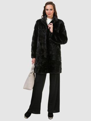 Шуба из норки мех норка крашеная, цвет черный, арт. 18902850  - цена 84990 руб.  - магазин TOTOGROUP