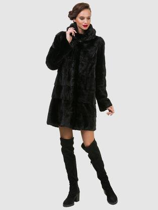 Шуба из норки мех норка крашеная, цвет черный, арт. 18902852  - цена 94990 руб.  - магазин TOTOGROUP