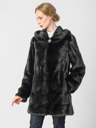Шуба из норки мех норка крашеная, цвет черный, арт. 18902857  - цена 89990 руб.  - магазин TOTOGROUP