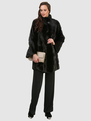 Шуба из норки мех норка крашеная, цвет черный, арт. 18902859  - цена 84990 руб.  - магазин TOTOGROUP