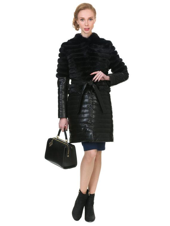 Кожаное пальто эко кожа 100% П/А, цвет черный, арт. 18902896  - цена 14190 руб.  - магазин TOTOGROUP