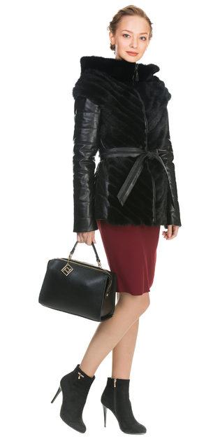 Кожаная куртка кожа коза, цвет черный, арт. 18902900  - цена 22690 руб.  - магазин TOTOGROUP