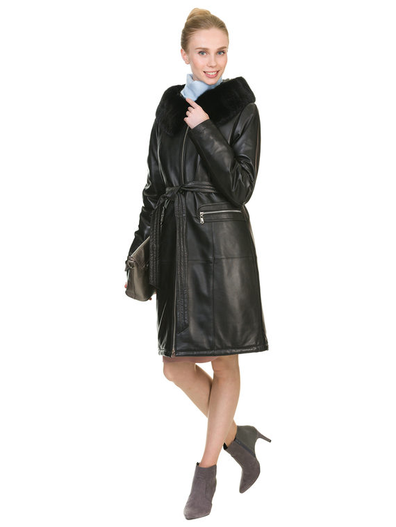 Кожаное пальто кожа баран, цвет черный, арт. 18902925  - цена 17990 руб.  - магазин TOTOGROUP
