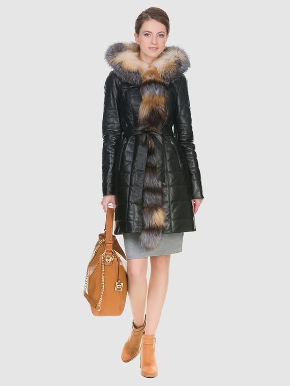 Кожаное пальто кожа , цвет черный, арт. 18902935  - цена 19990 руб.  - магазин TOTOGROUP