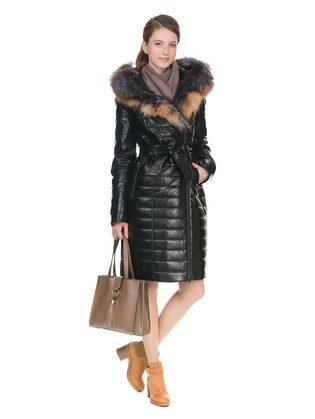 Кожаное пальто эко кожа 100% П/А, цвет черный, арт. 18902937  - цена 17990 руб.  - магазин TOTOGROUP