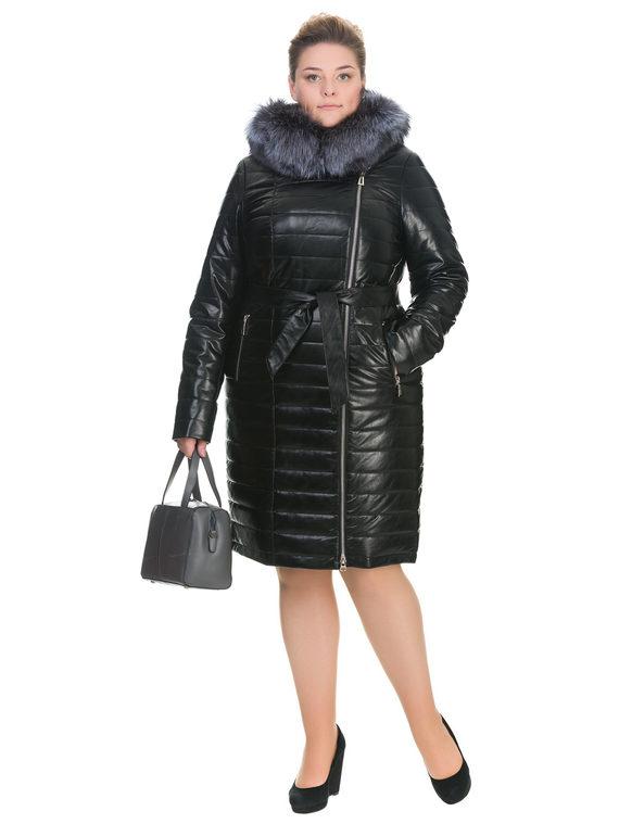 Кожаное пальто эко кожа 100% П/А, цвет черный, арт. 18902938  - цена 11290 руб.  - магазин TOTOGROUP
