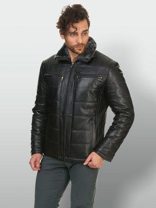 Кожаная куртка кожа баран, цвет черный, арт. 18902944  - цена 22690 руб.  - магазин TOTOGROUP