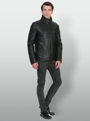Кожаная куртка кожа баран, цвет черный, арт. 18902946  - цена 16990 руб.  - магазин TOTOGROUP