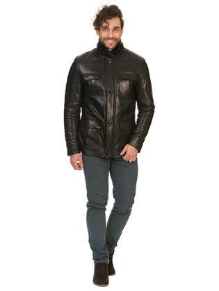 Кожаная куртка кожа баран, цвет черный, арт. 18902948  - цена 31990 руб.  - магазин TOTOGROUP