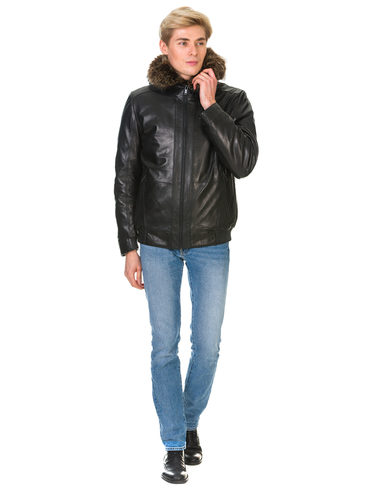 Кожаная куртка кожа , цвет черный, арт. 18902954  - цена 23990 руб.  - магазин TOTOGROUP