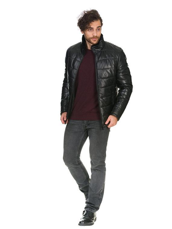 Кожаная куртка кожа , цвет черный, арт. 18902956  - цена 12690 руб.  - магазин TOTOGROUP