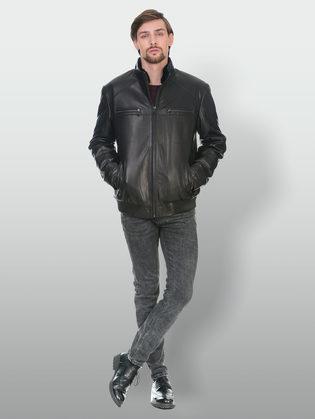Кожаная куртка кожа коза, цвет черный, арт. 18902981  - цена 22690 руб.  - магазин TOTOGROUP