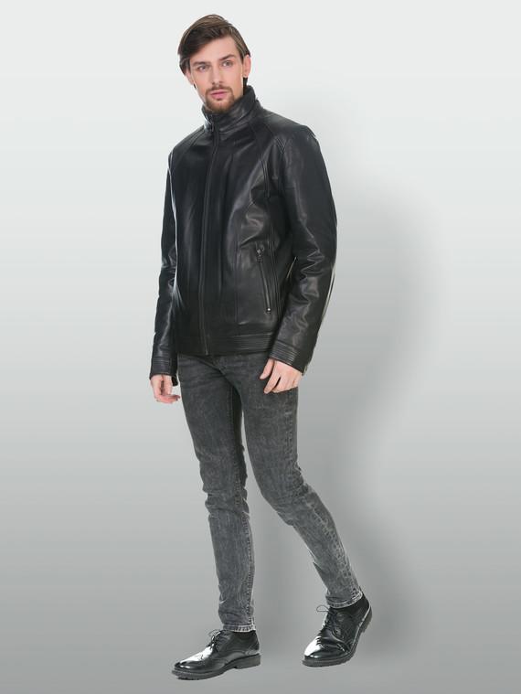 Кожаная куртка кожа , цвет черный, арт. 18902982  - цена 13390 руб.  - магазин TOTOGROUP