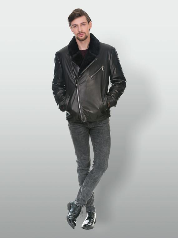Кожаная куртка кожа коза, цвет черный, арт. 18902987  - цена 14990 руб.  - магазин TOTOGROUP